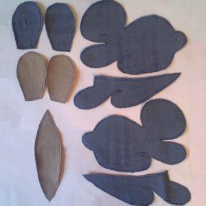 Раскладка деталей кролика на ткани
